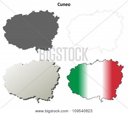 Cuneo blank detailed outline map set