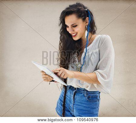 Woman Communication Connection Network Laptop Concept