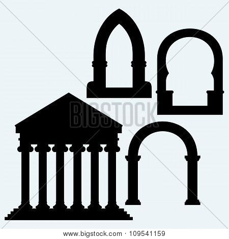 Classic arch and Portico an ancient temple