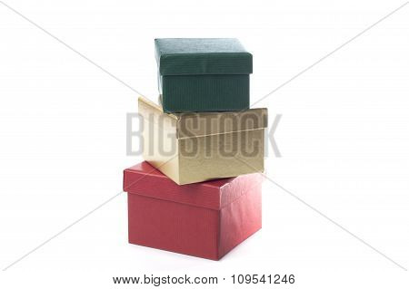 Green, Gold And Red Giftboxes, Isolated