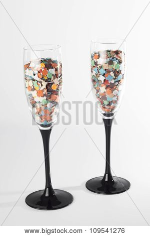 Champaign Glasses With Confetti, Isolated