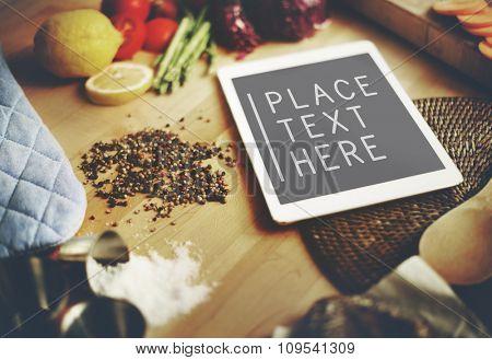 Digital Tablet Kitchen Food Vegan Copy Space Concept