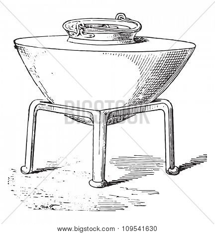 Cauldron on a tripod, vintage engraved illustration. Private life of Ancient-Antique family-1881.