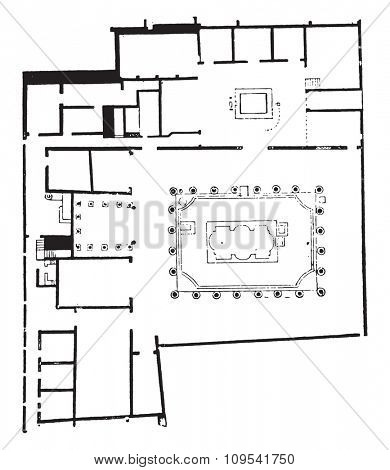 Plan of the house of the Nereids, vintage engraved illustration. Private life of Ancient-Antique family-1881.
