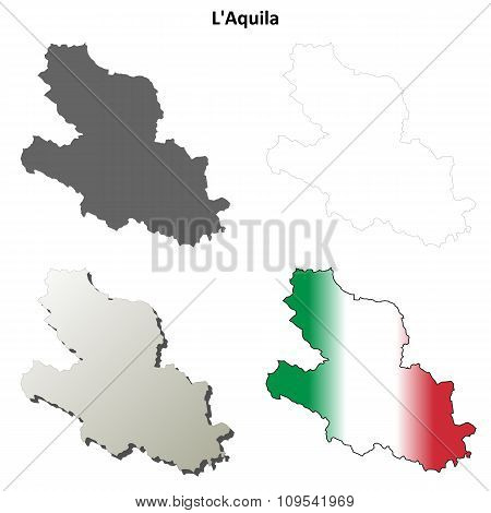 L'Aquila blank detailed outline map set