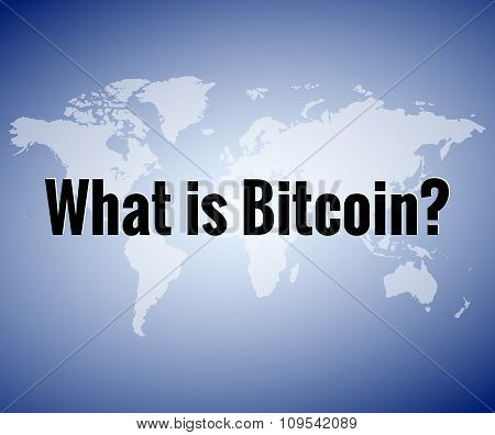 Black text How much a Bitcoin cost on a blue background map of the world. For the latest news about