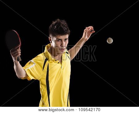 Table tennis player man with ball