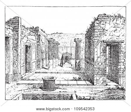 Poet house, in Pompeii, vintage engraved illustration. Private life of Ancient-Antique family-1881.