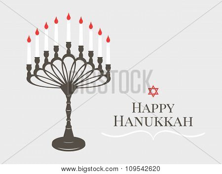 Invitation vintage inscription Happy Hanukkah candle on a candlestick old 9 and six-pointed red star