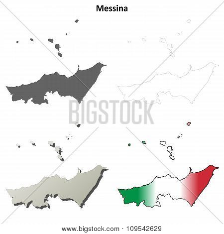 Messina blank detailed outline map set
