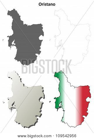 Oristano blank detailed outline map set