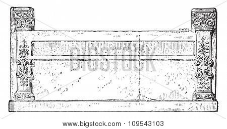 Macedonian bed, vintage engraved illustration. Private life of Ancient-Antique family-1881.