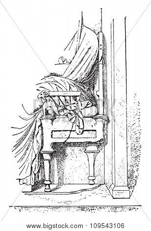 Greek chair, vintage engraved illustration. Private life of Ancient-Antique family-1881.