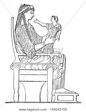 Chair, vintage engraved illustration. Private life of Ancient-Antique family-1881.