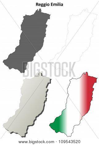 Reggio Emilia blank detailed outline map set