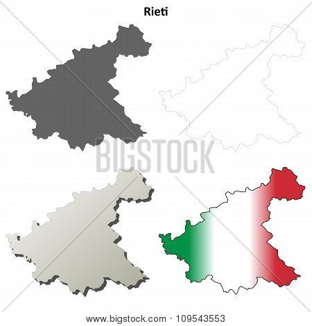 Rieti blank detailed outline map set
