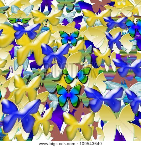 Bright colored butterflies are flying .