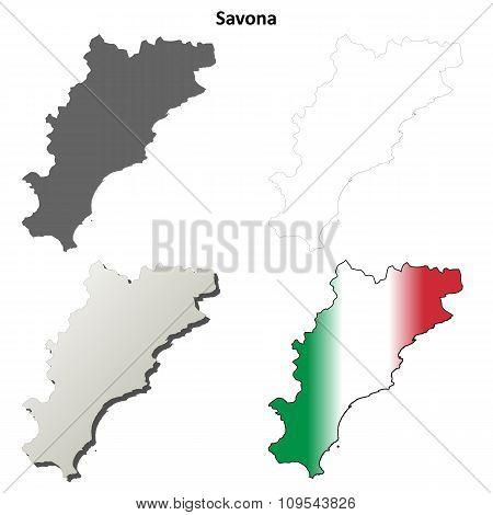 Savona blank detailed outline map set