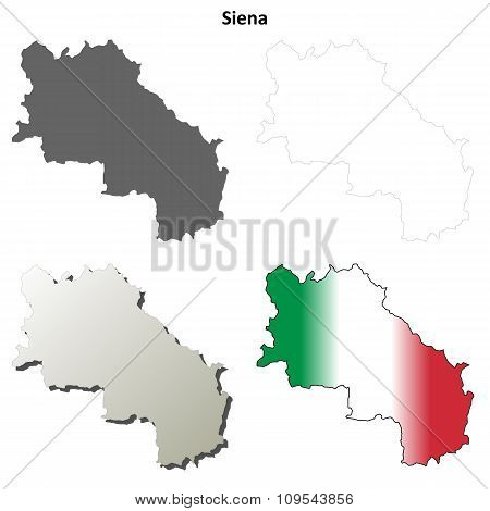Siena blank detailed outline map set