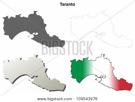 Taranto blank detailed outline map set
