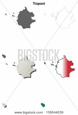 Trapani blank detailed outline map set - vector version