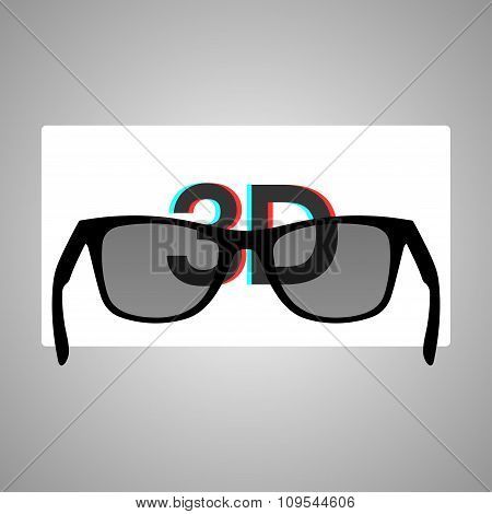 3D glasses and a stereo image on a white screen. Vector