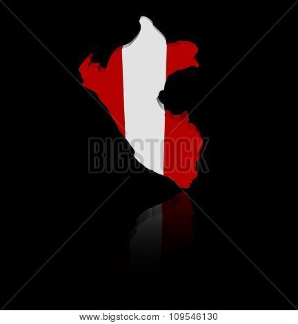 Peru map flag with reflection illustration