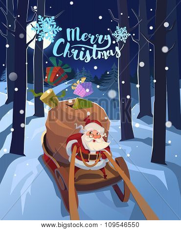 Santa Claus in a sleigh with presents in a hurry for the holiday. Christmas greeting card poster. Ve