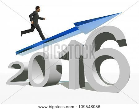 Conceptual 3D  human,man or businessman standing over an blue 2016 year symbol with an arrow isolated on white background