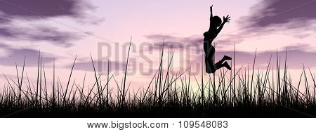 Concept or conceptual young woman or businesswoman silhouette jump happy on grass field at sunset or sunrise sky background banner