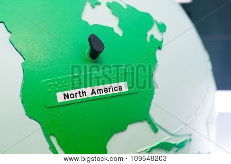 Detail Of Education Globe For Childs With Braille Writing. North America Continent.