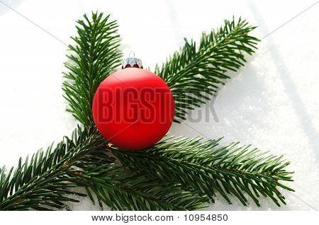 Red christmas ball and fir on snow