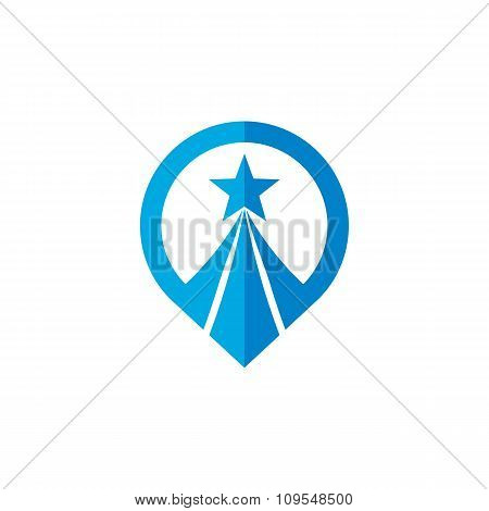 Location - vector logo concept illustration. Location and star sign. Vector logo template.