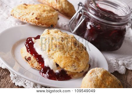 British Scones With Jam And Whipped Cream Close-up. Horizontal