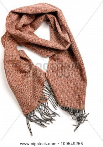 Brown lamb wool scarf isolated
