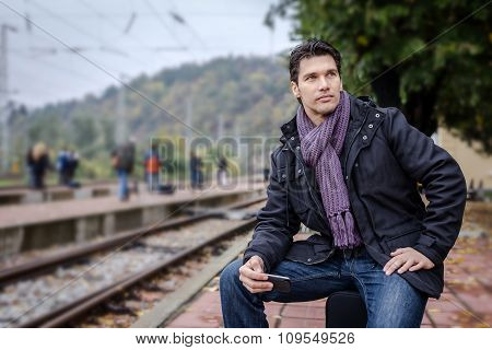Handsome Businessman At Train Station