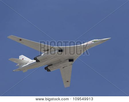 White Swan Tu-160 In Flight