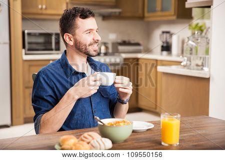 Enjoying Breakfast At Home