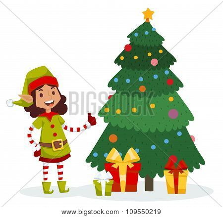 Santa Claus kids cartoon elf helpers vector illustration
