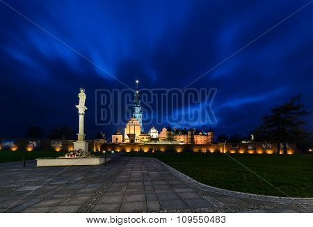 Jasna Gora Sanctuary In Czestochowa In The Night.