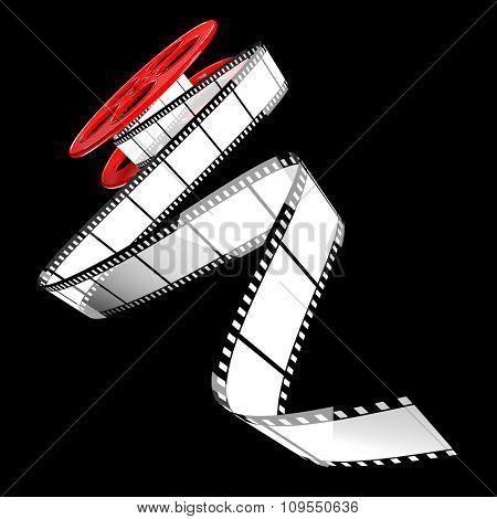 render of classic cinema film roll