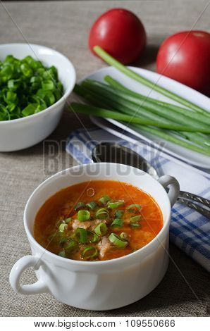 Tomato Soup With Rice And Meat