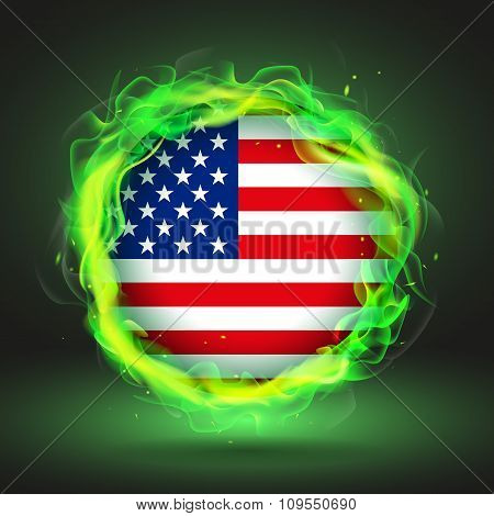 Flag Of Usa In Green Fire