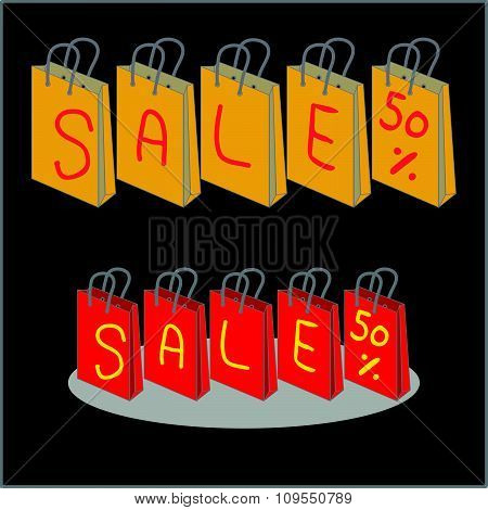 Vector Shopping Bags For Sale 50 Percent Discount