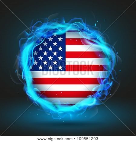Flag Of Usa In Blue Fire