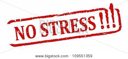 Damaged Oval Red Stamp With The Word - No Stress - Illustration