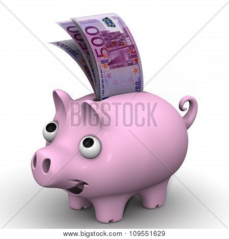 Pig piggy bank with banknotes of the European currency
