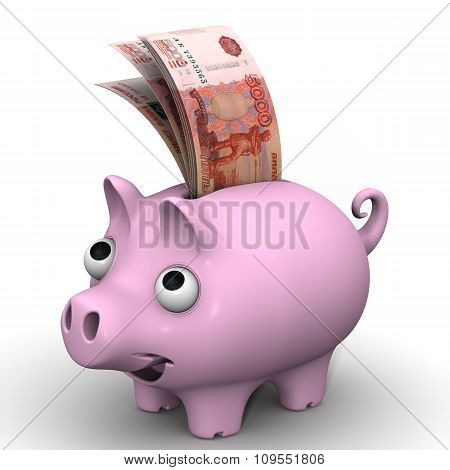 Pig piggy bank with banknotes of the Russian currency