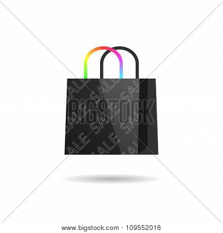 Black bag with colored handles. Vector
