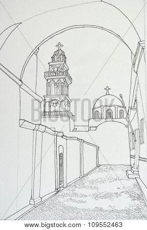 Ink line drawing of Bell tower and Dome